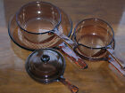 Corning Ware VISIONS COOKWARE AMBER GLASS ~ Waffle Bottom SKILLETS ~ SAUCEPANS