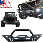 Front Bumper with LED Light Built in And Winch Plate For 07 16 Jeep Wrangler JK