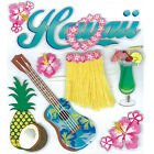Blue Hawaii Grass Skirt Guitar Hibiscus Tropical Drinks RARE Jolees 3D Stickers