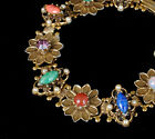 vintage VICTORIAN REVIVAL gold tone BRACELET with rhinestones art glass pearls