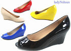 NEW Womens Patent Open Peep Toe Low Wedge Heels Pump Sandal Shoes Size 5 10