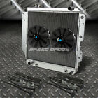 3 ROW ALUMINUM RADIATOR+2X 9 FAN BLACK FOR 87 06 JEEP WRANGLER YJ TJ 24 42