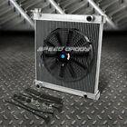 2 ROW ALUMINUM RADIATOR+1X 16FAN BLACK FOR 97 06 JEEP WRANGLER YJ TJ 24 42L