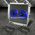 3 ROW ALUMINUM RADIATOR+2X 9 FAN BLUE FOR 87 06 JEEP WRANGLER YJ TJ 24 42