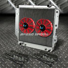 3 ROW ALUMINUM RADIATOR+2X 7 FAN RED FOR 87 06 JEEP WRANGLER YJ TJ 24 42