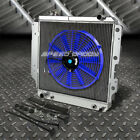 3 ROW ALUMINUM RADIATOR+1X 14FAN BLUE FOR 87 06 JEEP WRANGLER YJ TJ 24 42