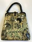 Vintage Plastic Handbag Purse Abstract Print With Broach