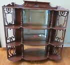 VINTAGE WALL SHELF W/ MIRROR, MAHOGANY WITH FRETWORK 28