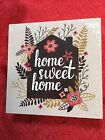 Home Sweet Home Wood Sign Wall or Table 6x6x2 Inch Flowers  Leaves