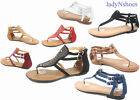 NEW Womens Summer Flat Thong Ankle Strap Gladiator Sandal Shoes Size 6 10