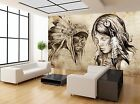 Native Indian Woman Vintage Paper Wall Mural Photo Wallpaper GIANT WALL DECOR