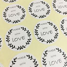 Made With Love Sticker 63 Gift Packaging Seal Birthday in Glossy White Adhesive