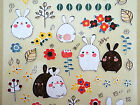 Korean bunny rabbit stickers Cute chubby mochi bunnies forest buns leaves