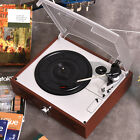 Brown 3 Speed Retro style Record Player Stereo Turntable with Built-In Speakers