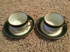 2 Fitz & Floyd Renaissance Green & Gold Band  cups and saucers , 4 pieces