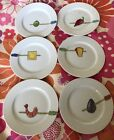 Set of 6 Crate and Barrel Nancy Green Appetizer Snack Tidbits Plates