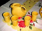 VINTAGE YELLOW FIESTA WARE JUICE DISC PITCHER + 4 JUICE TUMBLERS EXCELLENT!!