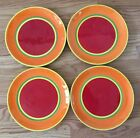 Set of 4 Dansk Caribe Aruba Orange with Red Dinner Plates VGC