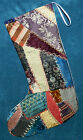 AWESOME ANTIQUE VINTAGE CRAZY QUILT CHRISTMAS STOCKING CUTTER QUILT CQ21