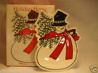 Fitz & Floyd Holiday Home Snowman Snack Plate Christmas Tree Red White New