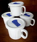(4) Corning Ware FRENCH WHITE 20 oz Large Stoneware Soup Mugs Cups with Lids