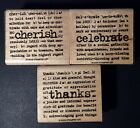 Rubber Stamp CELEBRATE CHERISH THANKS Verse Lot of 3 Stamps Stampin Up 2005