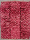 Mansion-Size Pink Hand-Woven  Vintage Moroccan Rug, Beni Ourain 10'9