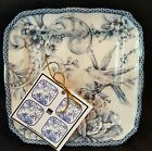 222 Fifth Adelaide Blue Toile Bird Set of 4 Unused Appetizer Plates 6.25