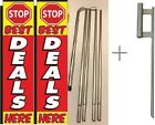 Stop Best Deals Here Big Rectangle Flag 3 ft x 12 ft With Pole kit Pack of 2