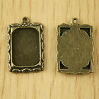 8pcs bronze tone leaf picture frame charms h2835