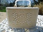 Vintage Basket Weave Handbag Purse Mother of Pearl Bakelite Handles Beaded