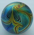 CORREIA STUDIO 1980 IRIDESCENT PEACOCK FEATHER DESIGN ART GLASS PAPERWEIGHT