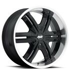 Set4 22 Avenue Wheels A612 Black W Chrome Lip Rims