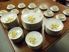 VINTAGE COTILLION YELLOW ROSE CHINA 72 PC DINNER SET BY SANGO