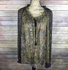 FREE PEOPLE Womens Size Large Army Green  Pale Pink Floral Long Sleeve Blouse