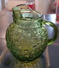 VINTAGE MID CENTURY GLASS AVOCADO GREEN ANCHOR HOCKING TEXTURED 3 QT PITCHER