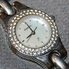 Fossil Round Bling Crystal Women's Watch White Dial Stainless Steel NEW BATTERY!