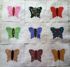 Lot of 9 Fabric Quilt Top Blocks 6 Inch Square Kit Butterfly Mix Applique