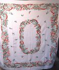 VTG Holiday Christmas Pattern COTTON Tablecloth HOLLY BERRIES