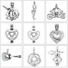 MERZIEs silver U PICK Pearl Bead Cage fantasy heart charm pendant SHIPs from USA