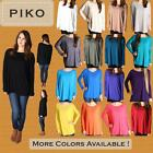 PIKO T1851 Womens Authentic Bamboo Long Sleeve Boat Neck Oversized Loose Top