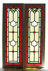 Tall Pair of Antique Stained Glass Windows Five 5 colors Ruby Red Border3023
