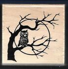 OWL SCARY TREE FULL MOON Night Sky Halloween NEW Craft Smart wood RUBBER STAMP