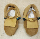 NICE NEW KIDS HAND CRAFTED BEADED BROWN LEATHER NATIVE AMERICAN INDIAN MOCCASINS