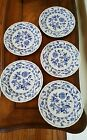 Set of 5 Blue Meissen by Sanyo Luncheon Plates Blue and White Blue Elbe