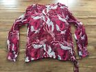 Lucky Brand Feather Boho Peasant Tie Waist Long Sleeve Sheer Top Red Pink Small