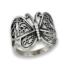 Butterfly Heart Filigree Wings Ring New Stainless Steel Animal Band Sizes 6 10