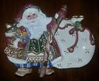 *New* Fitz & Floyd Jolly Ole St Nick open figural candy dish tray with handle
