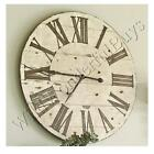 Farmhouse Wall Clock Whitewashed 36 Round Wood Shabby French Chic European New