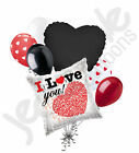 7 pc I Love You Message Heart Happy Valentines Day Balloon Bouquet Mine Hug Kiss